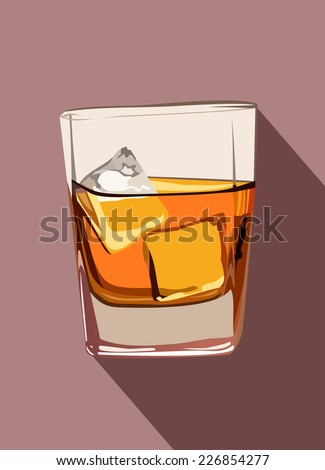 Whiskey in glass with ice - stock vector