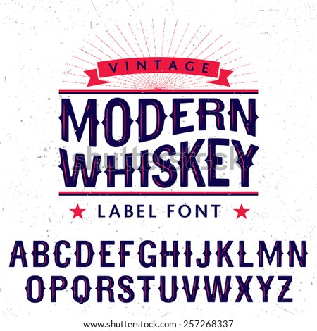 Whiskey label font and sample label design with decoration and ribbon - stock vector