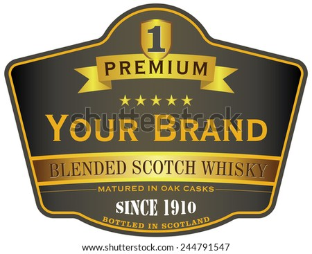 whisky label - stock vector