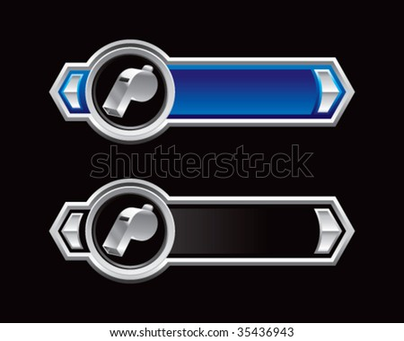 whistle on ribbon banner - stock vector
