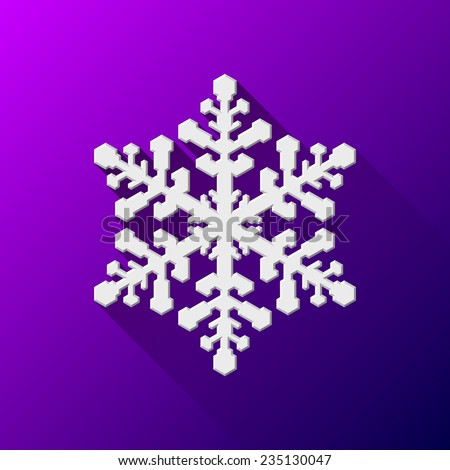 White abstract Christmas snowflake sign with flat designed shadow and purple background for internet sites, web user interfaces (ui) and applications (apps). Vector illustration. Flat design. - stock vector