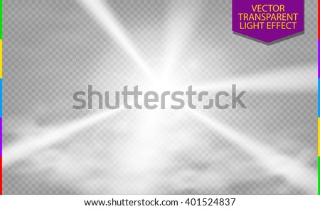 White abstract disco ray transparent light effect with cloud of fog or smoke. Laser show spotlight element for design. - stock vector