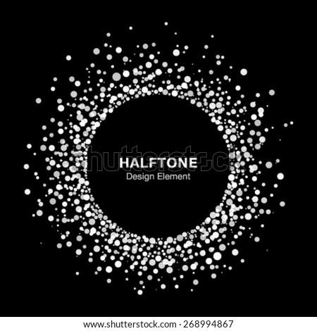 White Abstract Halftone Circle Frame Logo Design Element, vector illustration  - stock vector