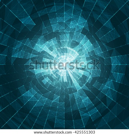 White Abstract Vector Mesh on Blue Background - Futuristic UX Background - Elegant Background for Business Presentations - stock vector