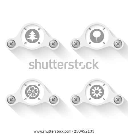 white abstract vector objects and icons - stock vector