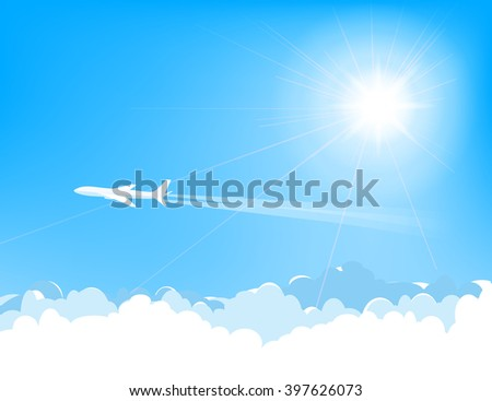 white airplane flying  over cumulus clouds, bright sun on  blue sky, vector illustration - stock vector