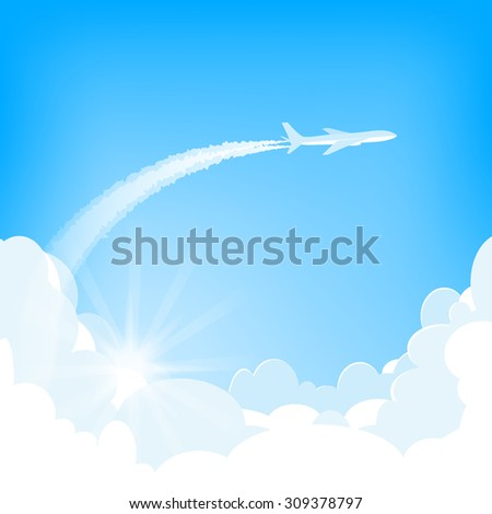 white airplane flying  over cumulus clouds, sun peek out clouds,  blue sky on background, vector illustration - stock vector