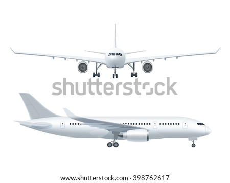 White airplane icon set  on a white background in profile and from the front isolated vector illustration - stock vector