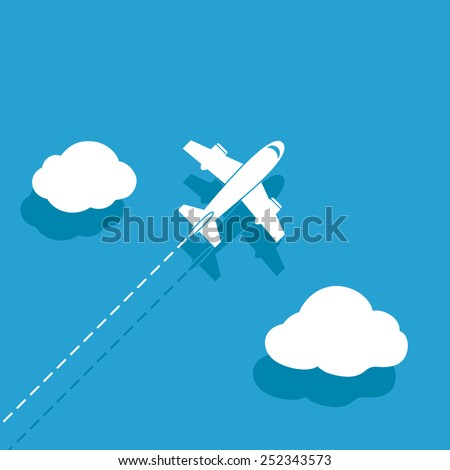White airplane on a blue background - stock vector