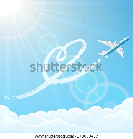 White airplane on blue sky background with heart, illustration. - stock vector