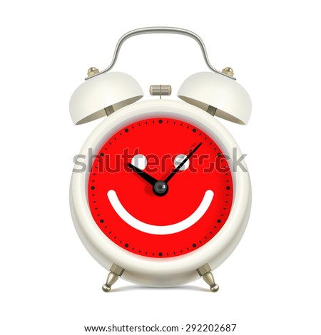 White alarm clock with red clock face, with picture of smiling face, on white background. Always in a good mood concept - stock vector