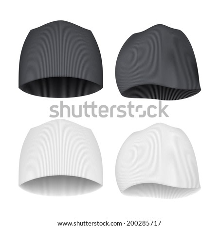 White and Black Beanie - front and side views - stock vector