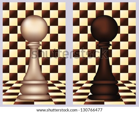 White and Black Chess Pawn,  vector illustration - stock vector