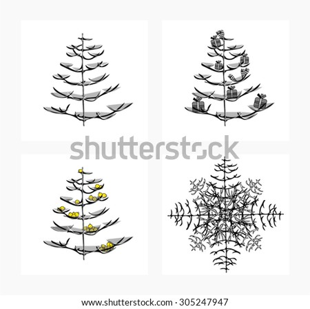 White and black Christmas trees - stock vector