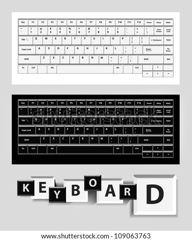 White and black computer keys. Vector set illustration - stock vector