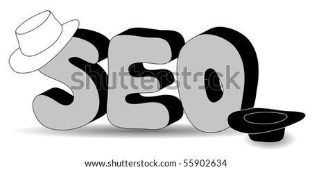 White and black hat Search Engine Optimization (SEO) - stock vector