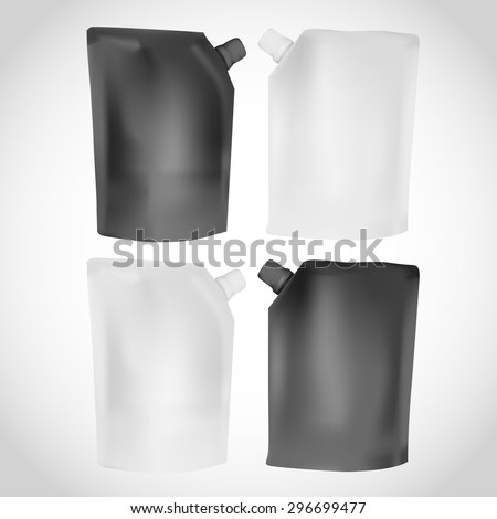 White and Black Shampoo Bottle Mock-up collection. Plastic Bottle of Shampoo, Gel or Lotion on white background isolated. Mock up for design. Product Packing Vector. - stock vector