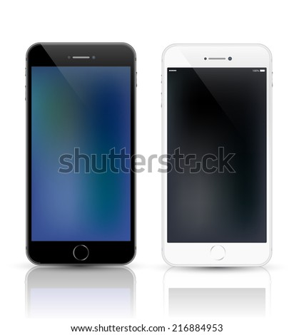 White and black smartphone realistic mockup. Model phone Isolated. Can use for frame or background printing and website. - stock vector