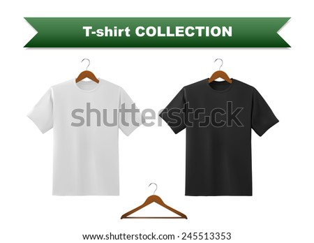 White and black t-shirt template with hanger, vector eps10 illustration. - stock vector