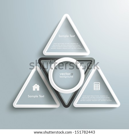 White and black triangles with white ring on the grey background. Eps 10 vector file. - stock vector