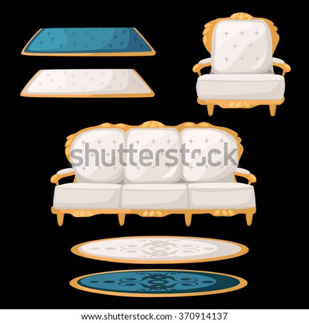 White and blue armchair, sofa and carpet. Vector. - stock vector