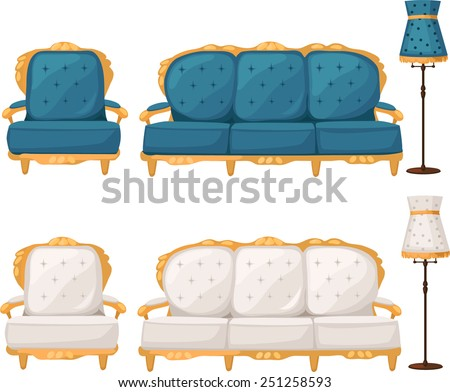 white and blue armchair, sofa and lamp, - stock vector