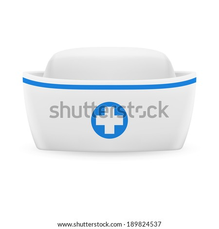 White and blue nurse cap on white background  - stock vector