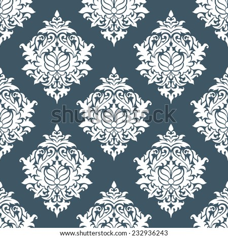 White and blue seamless floral background pattern for wallpaper or textile design - stock vector