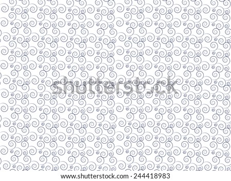 White and blue wavy curly pattern - stock vector