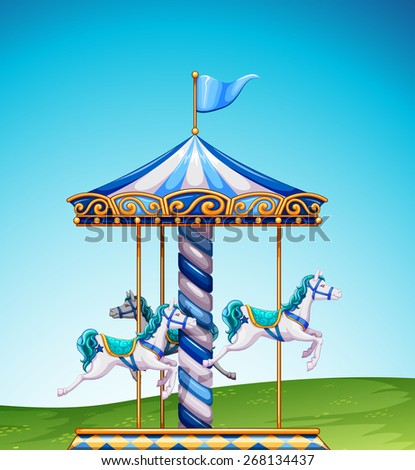 White and bluse carousel in a park - stock vector