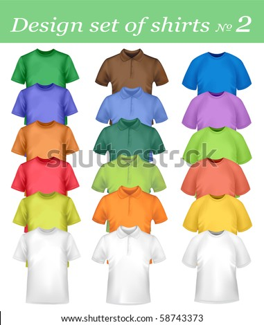 White and colored men and women polo and t-shirts. Photo-realistic vector illustration. - stock vector