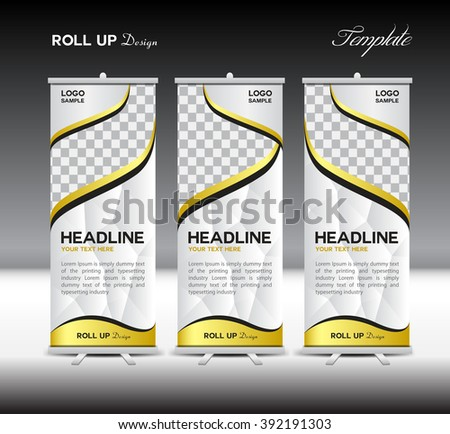 White and gold Roll Up Banner template vector illustration,banner design,stand template,roll up display,polygon background - stock vector