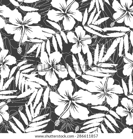 White and gray tropical flowers silhouettes vector seamless pattern - stock vector