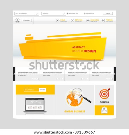 White and Orange Colored Website Template Vector Eps10, Modern Web Design with flat UI elements and abstract header. Ideal for Business layout.  - stock vector