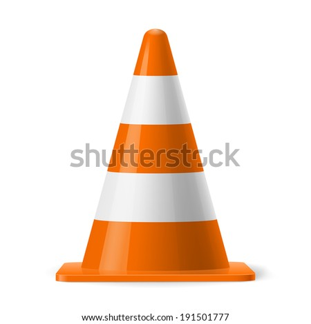 White and orange road cone. Sign used to provide safe traffic during road construction - stock vector