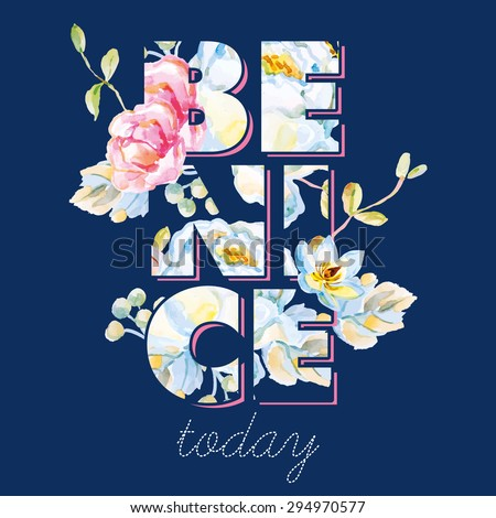 White and pink roses with floral elements on the dark blue background. Watercolor with summer garden flowers. Print for T-shirt with slogan. Be nice today. Typographic design artwork. - stock vector