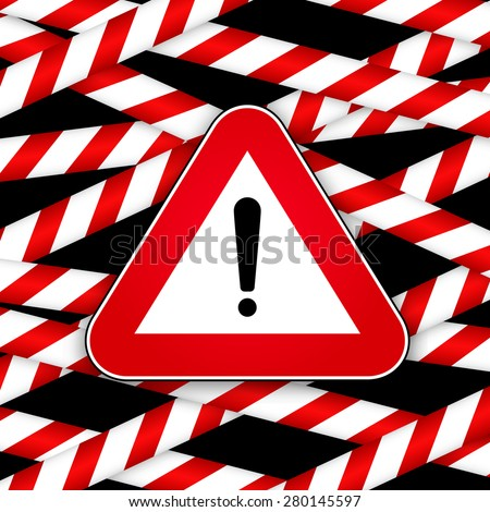 White and red caution striped tapes with red hazard warning attention sign on black background. Vector illustration.  - stock vector