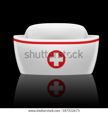 White and red nurse cap with reflection  on black background  - stock vector