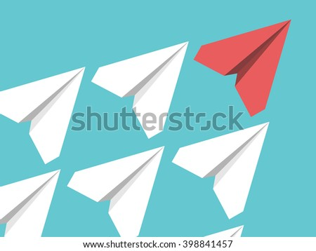 White and red paper planes flying in turquoise blue sky. Leadership, success, teamwork, management, boss, motivation and business concept. EPS 8 vector illustration, no transparency - stock vector