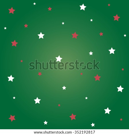 White and red stars with green background for Christmas festival. - stock vector