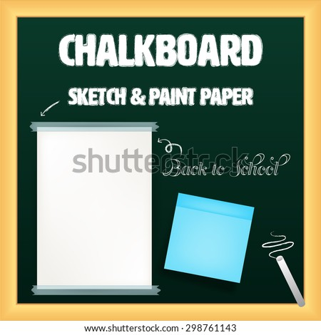 white and yellow papers with transparent tape and note pad on black board with chalk vector - stock vector