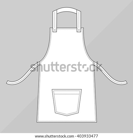 White apron with pocket - stock vector