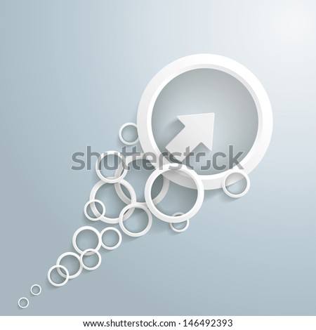 White arrow with circles on the grey background. Eps 10 vector file. - stock vector