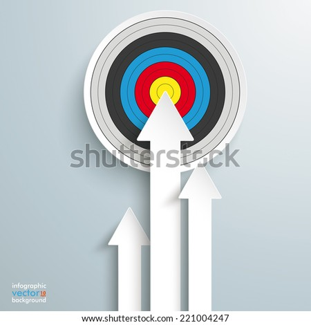 White arrows with target on the grey background. Eps 10 vector file. - stock vector