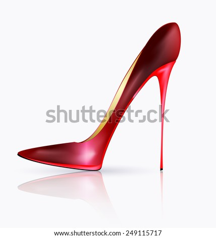 white background and the red ladys shoe - stock vector