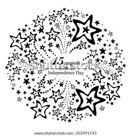 White background for Indian Independence Day with text 15 August, firework and place for your text. vector illustration  - stock vector