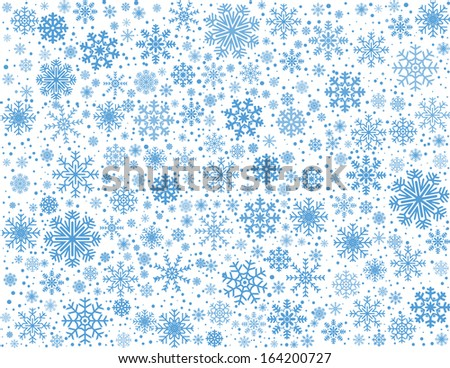White background maked from blue frosty snowflakes, vector pattern - stock vector