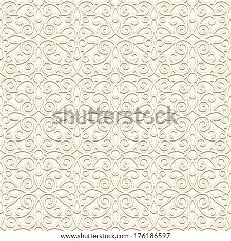 White background, vintage ornament, vector seamless pattern in light color - stock vector