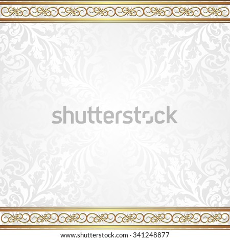 white background with golden ornaments and vintage pattern - stock vector