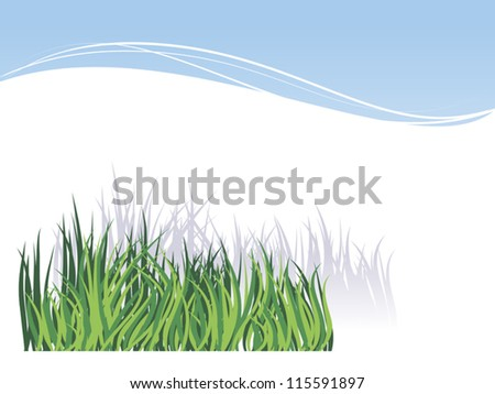 White background with green grass image for greetings Valentine's Day or invitations for a  picnic - stock vector